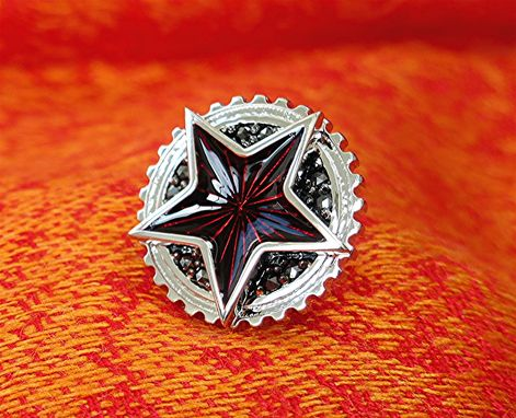 Custom Made Enameled Diamond Star Earring