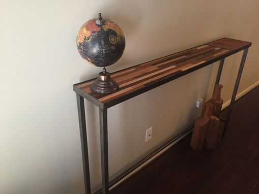 Custom Made Steel And Hardwood Entry Console