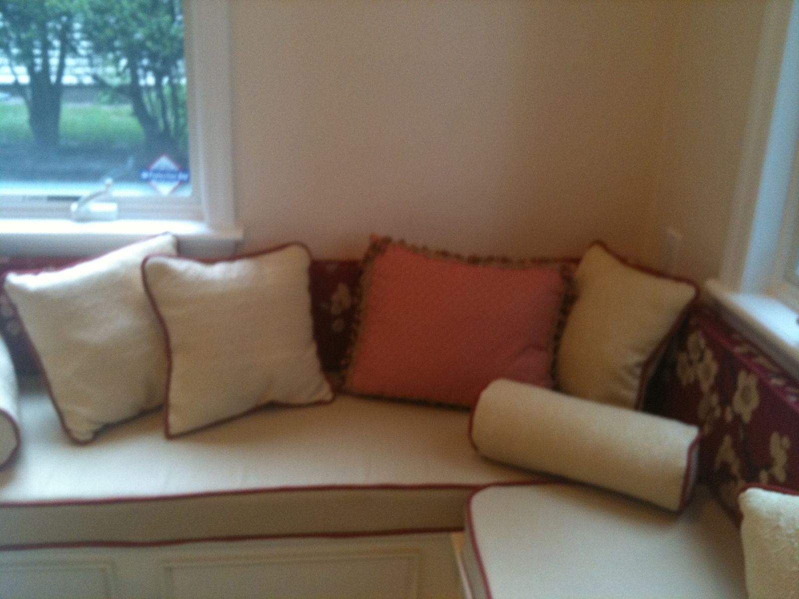 Custom Made L Shaped Window Bench Cushions With Matching Pillows