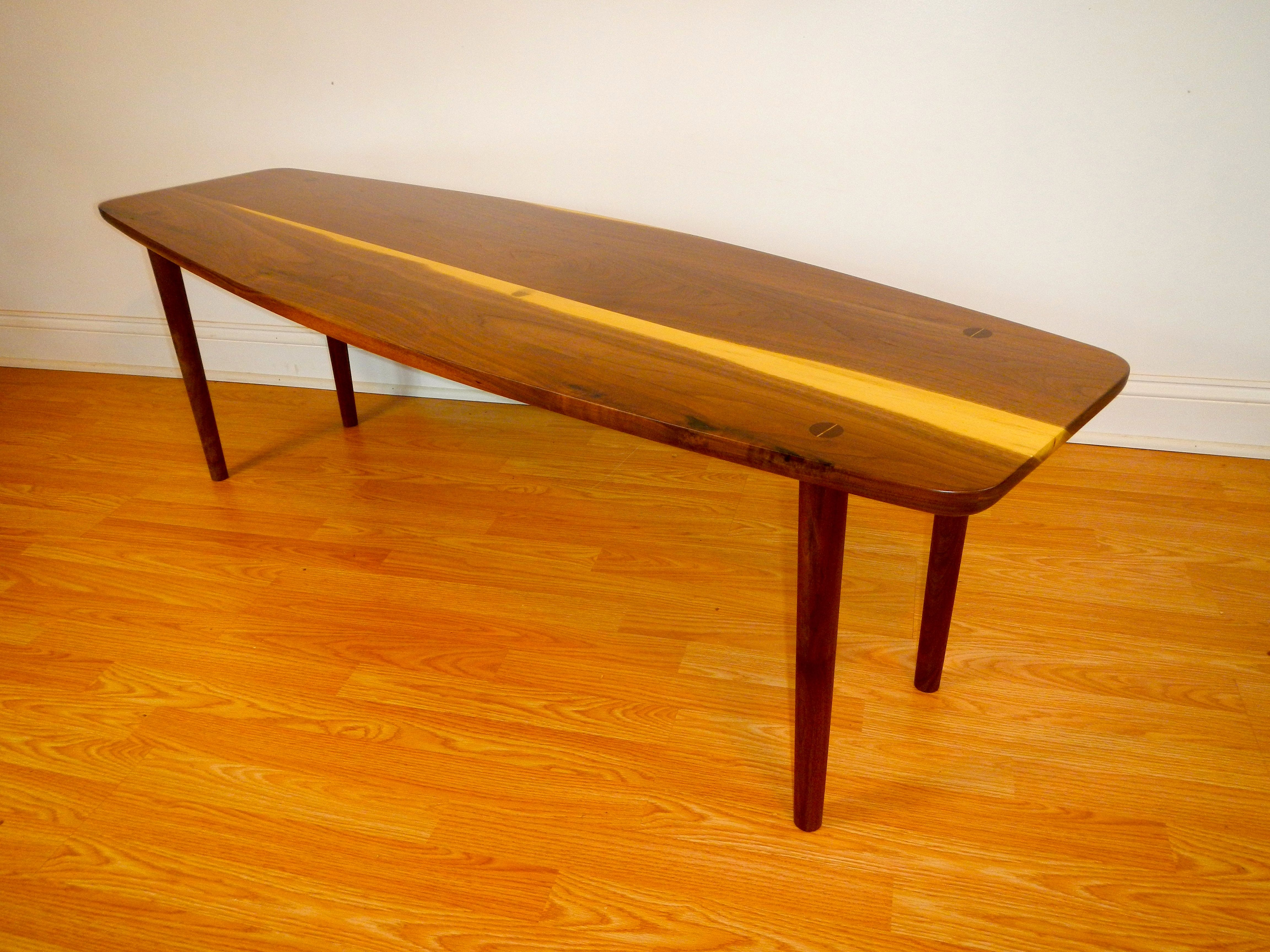 Hand Made Mid Century Modern Style Surfboard Table By Don Yacovella