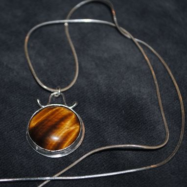 Custom Made Tiger's Eye Silver Pendant Necklace