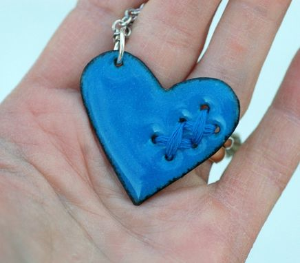 Custom Made Valentine Jewelry Mended Broken Enamel Heart Pendant Necklace Copper Enameled Sewn Denim Blue