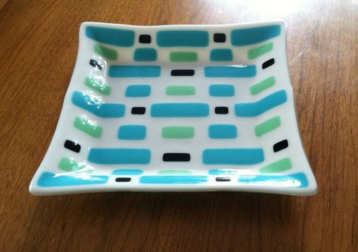 Custom Made Fused Glass Square Dish 12""