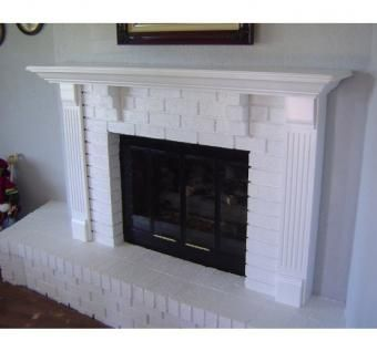 Custom Made Fireplace Mantle & Surround With Brick
