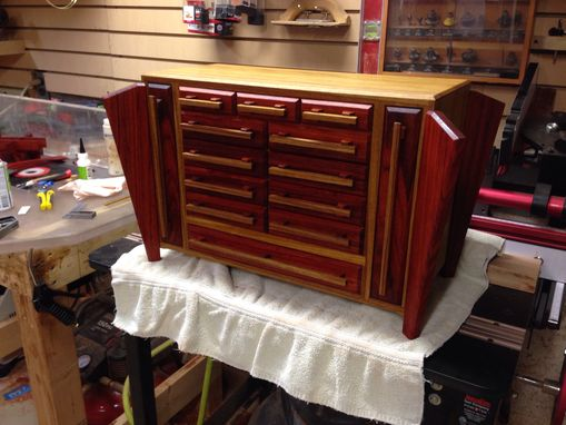 Custom Made Large Padauk And Canarywood Jewelry Box