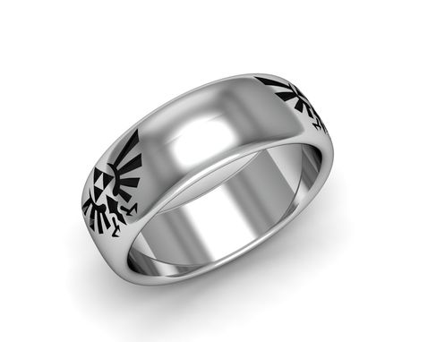 Custom Made Zelda Triforce Band Sterling Silver Antiqued