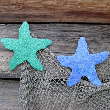 Custom Made Handmade Upcycled Metal Starfish Wall Art Sculpture In Turquoise