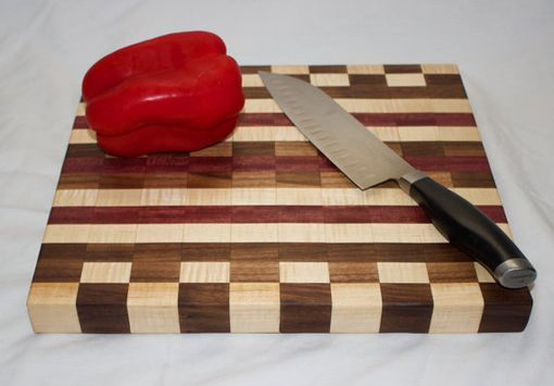 Custom Made Maple, Walnut, And Purpleheart Checkered Cutting Board