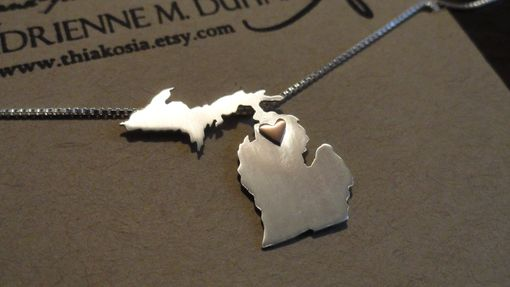 Custom Made Sterling Silver State With Copper Heart