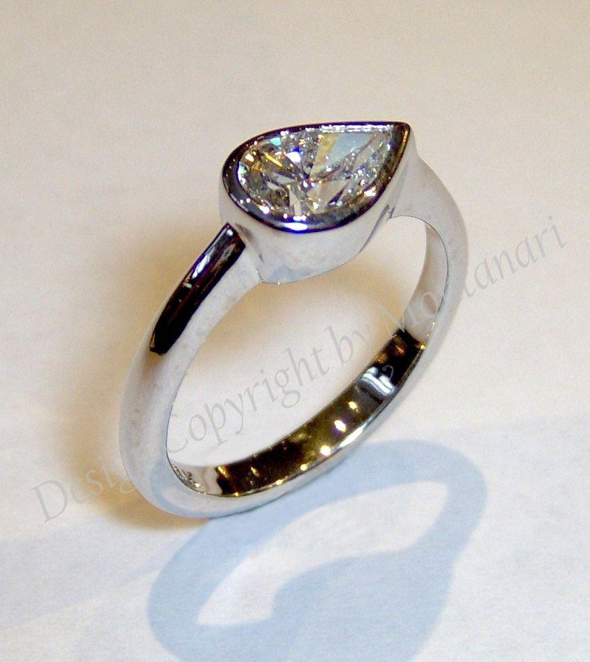 Custom Made Pear Shaped Diamond Engagement Ring