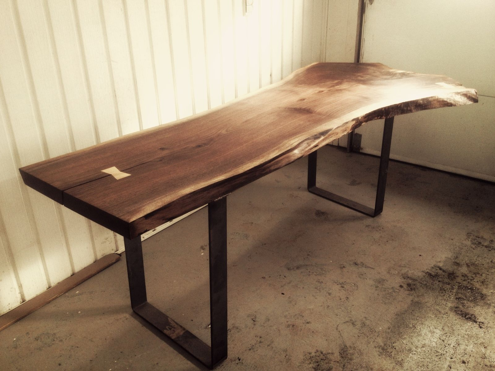 Hand made live edge black walnut dining room table by bois for Custom dining room tables