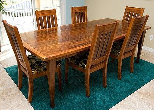 Custom Made Hawaiian Curly Koa Dining Table And Chair