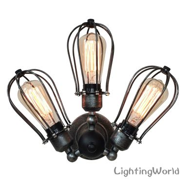 Custom Made Industrial Style 3 Lights Transformable Arm Wall Sconces