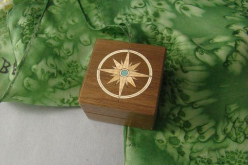 Custom Made Inlaid Compass Of Anigre And Turquoise With Free Engraving And Shipping. Rb-17