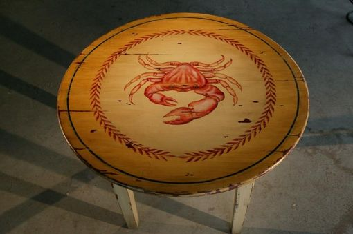 Custom Made Cocktail Table With Hand Painted Design