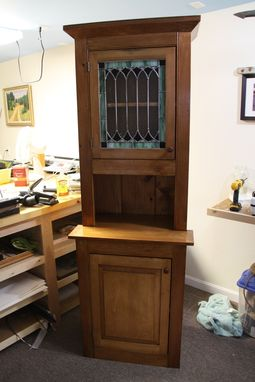 Custom Made Pine Cupboard With Stained Glass Panel