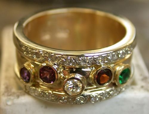 Custom Made Birthstone Family Ring