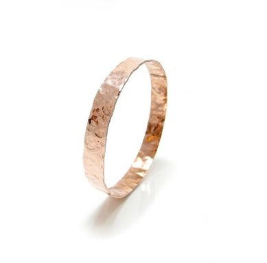 Custom Made Narrow Copper Bangle - Hammered Copper Bangle Textured Copper  Faux Rose Gold Bangle
