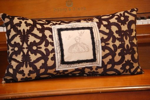Custom Made Paris Vintage Linen Rectangular Pillow With Hand Stamped Trim