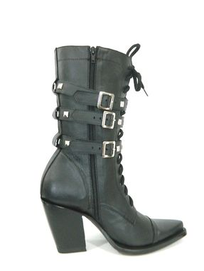 Custom Made Boots Sharp Toe Shoe Laces 13 Tall Men Boots With Decorative Studded Belt 5 Inch Hells