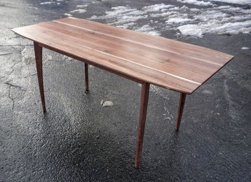 Custom Made Mid-Century Modern Solid Walnut Dining Table