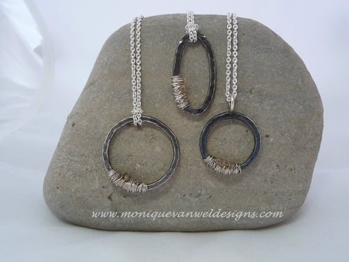 "Custom Made Sterling Silver Oval Hammered Pendant With 3 Diamond Beads On A Silver 16 ""Necklace"
