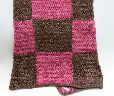 Custom Made Super Soft Baby Blanket Made With Homespun Yarn In Pink And Brown