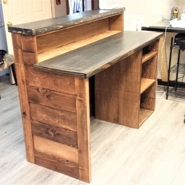 Hand Crafted Reclaimed Wood Reception Desk By Custom Made Furniture Custommade Com