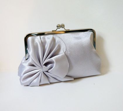 Custom Made Silver Art Deco Clutch Purse With Swirl Details