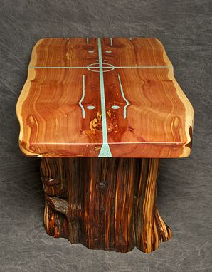 Custom Made Cedar Slab Table With Natural Living Edges And Four Directions Turquoise Inlay