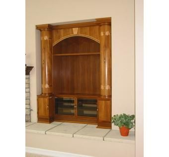 Custom Made Entertainment Center In Teak.