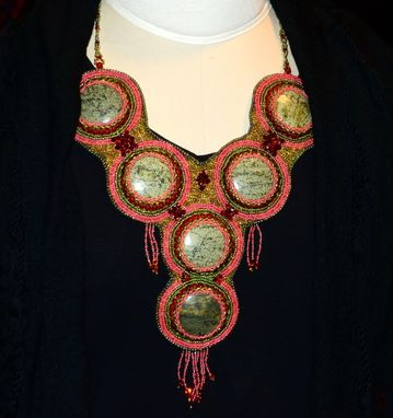Custom Made Green Magnesite Bead Embroidered Necklace