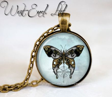 Custom Made Whimsical Vintage Steampunk Butterfly Clock, Steampunk Shabby Chic Nature Jewelry Pendant Necklace