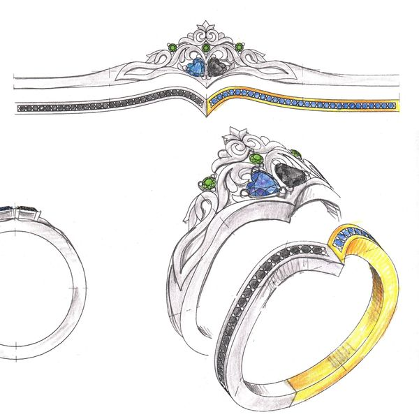 Concept sketches for a bright crown ring with heart cut sapphire and black diamond.