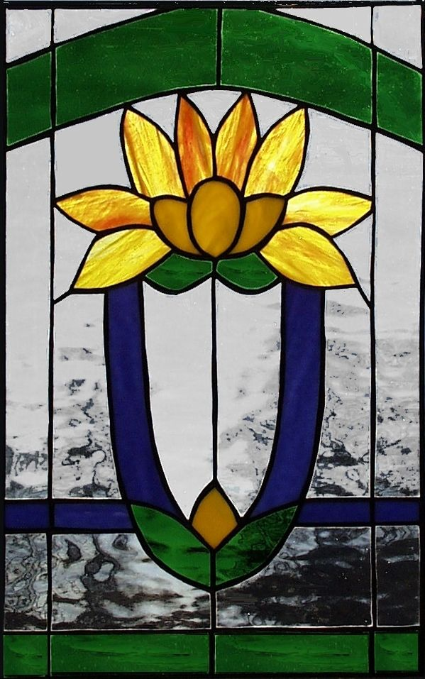 Hand Made Lotus Flower Stained Glass Cabinet Insert By A Glass