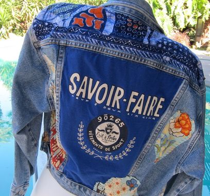 Custom Made Appliqued Denim Jacket With Embroidered Silk, Batik, Vintage Lace