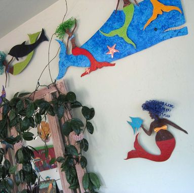 Custom Made Handmade Upcycled Metal Mermaid With Fish Wall Art Sculpture