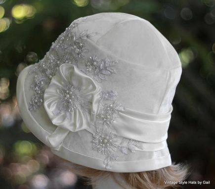 Custom Made 1920s Great Gatsby Wedding Party Cloche Hat In White Velvet Lace Pearls And Sequins
