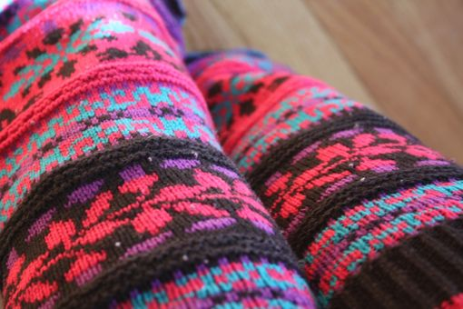 Custom Made Nordic Rave Knit Legwarmers - Size Xs/S/M