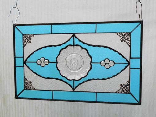 Custom Made Depression Glass Stained Glass Panel, 1960s Brockway Giveaway Plates, Vintage Stained Glass Transom