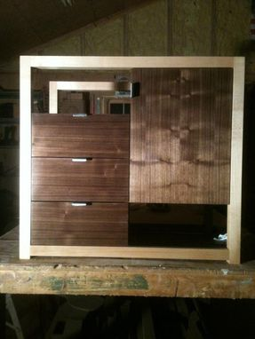 Custom Made Modern Bedside Cabinet In Walnut And Maple