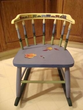 Custom Made Children's Chair Painted With Trope L'Oeil Marbles And A  Train