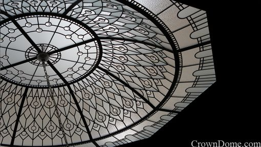 Custom Made Stained And Leaded Glass Octagon Dome With Large Crystal Jewels
