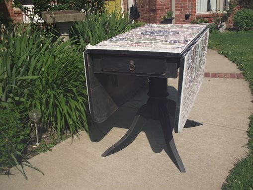 Custom Made Broken China Mosaic Drop Leaf Table