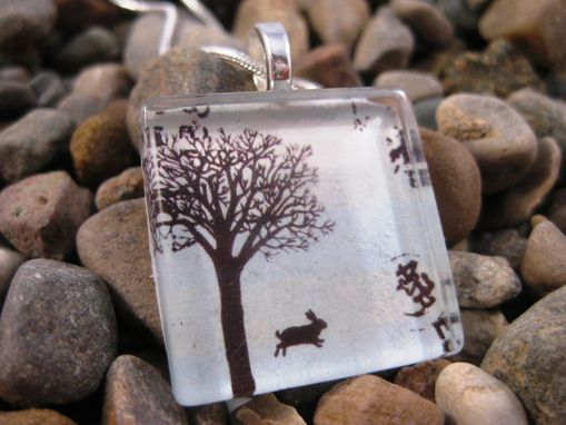 Custom Made Glass Tile Pendant With Little Forest Rabbit Design