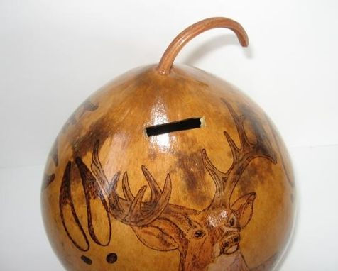 Custom Made Gourd Bank With Deer