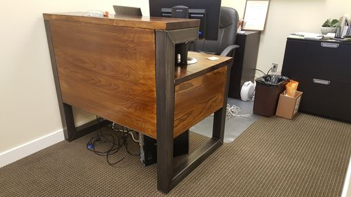 Custom Made Metal Frame & Reclaimed Wood Reception Desk