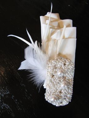 Custom Made Ruffle And Pearl Gatsby-Inspired Bridal Headpiece
