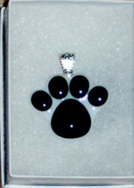 Custom Made Custom Fused Glass Memorial Paw Print Pendant With Ashes