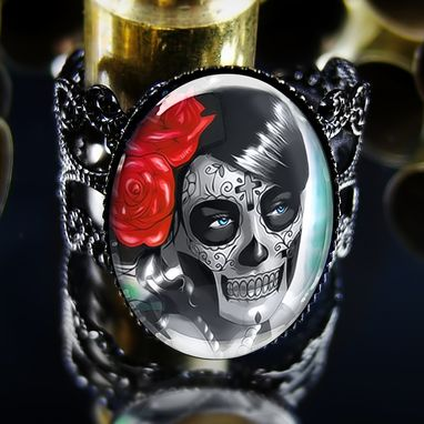 Custom Made Day Of The Dead Girl Dia De Los Muertos Black Ring 62-Jbfr